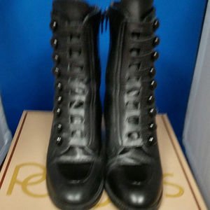 Poppies Black Leather Boot. Size 7m